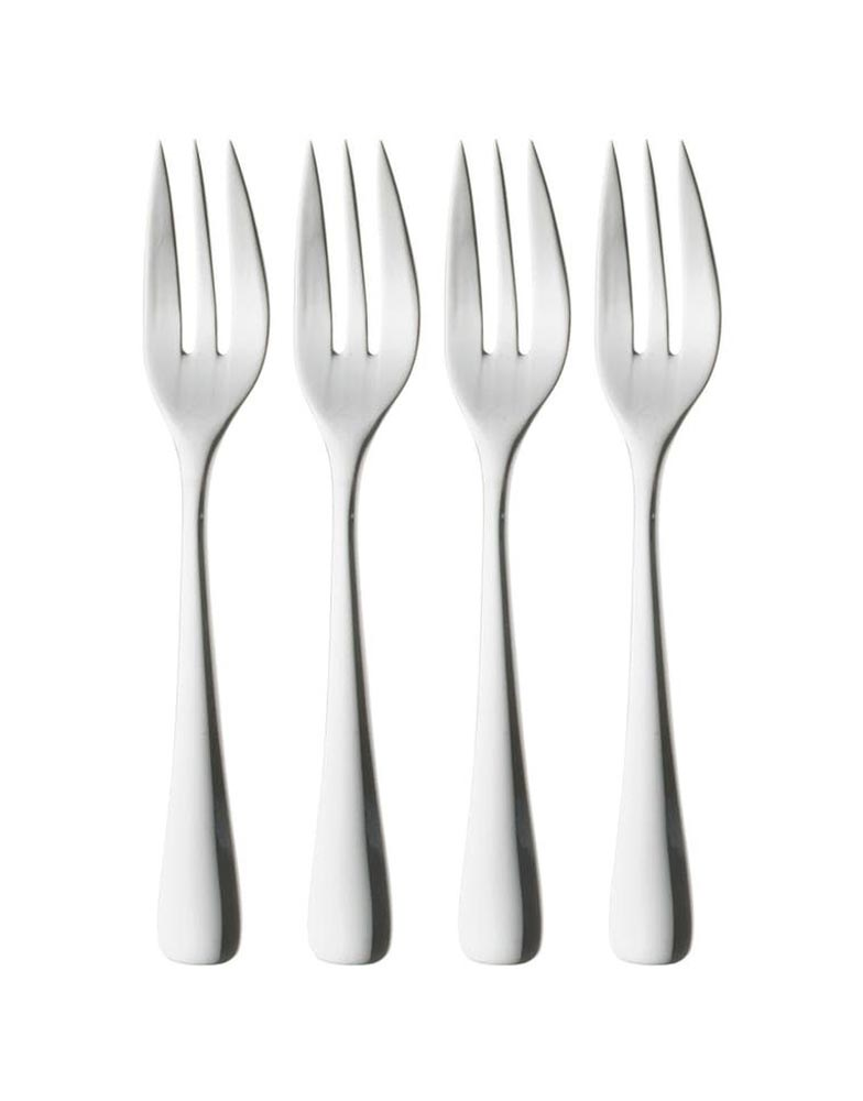 Four stainless steel Robert Welch Malvern Bright Pastry Forks with three prongs