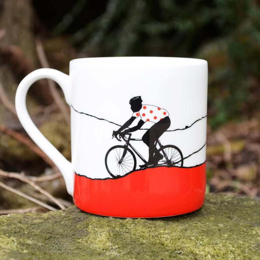 The Art Rooms Red Polka Dot Jersey Bone China Mug