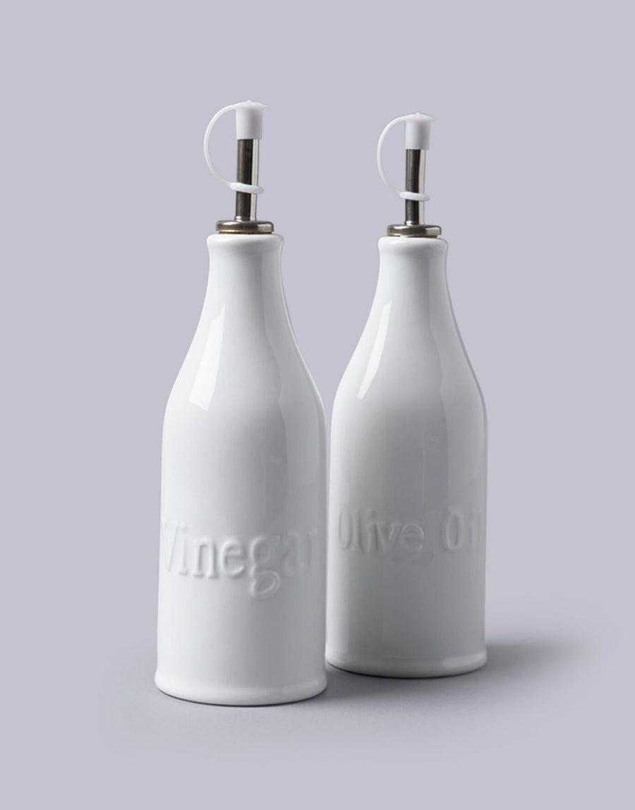 White Oil & Vinegar Jars Set of 2