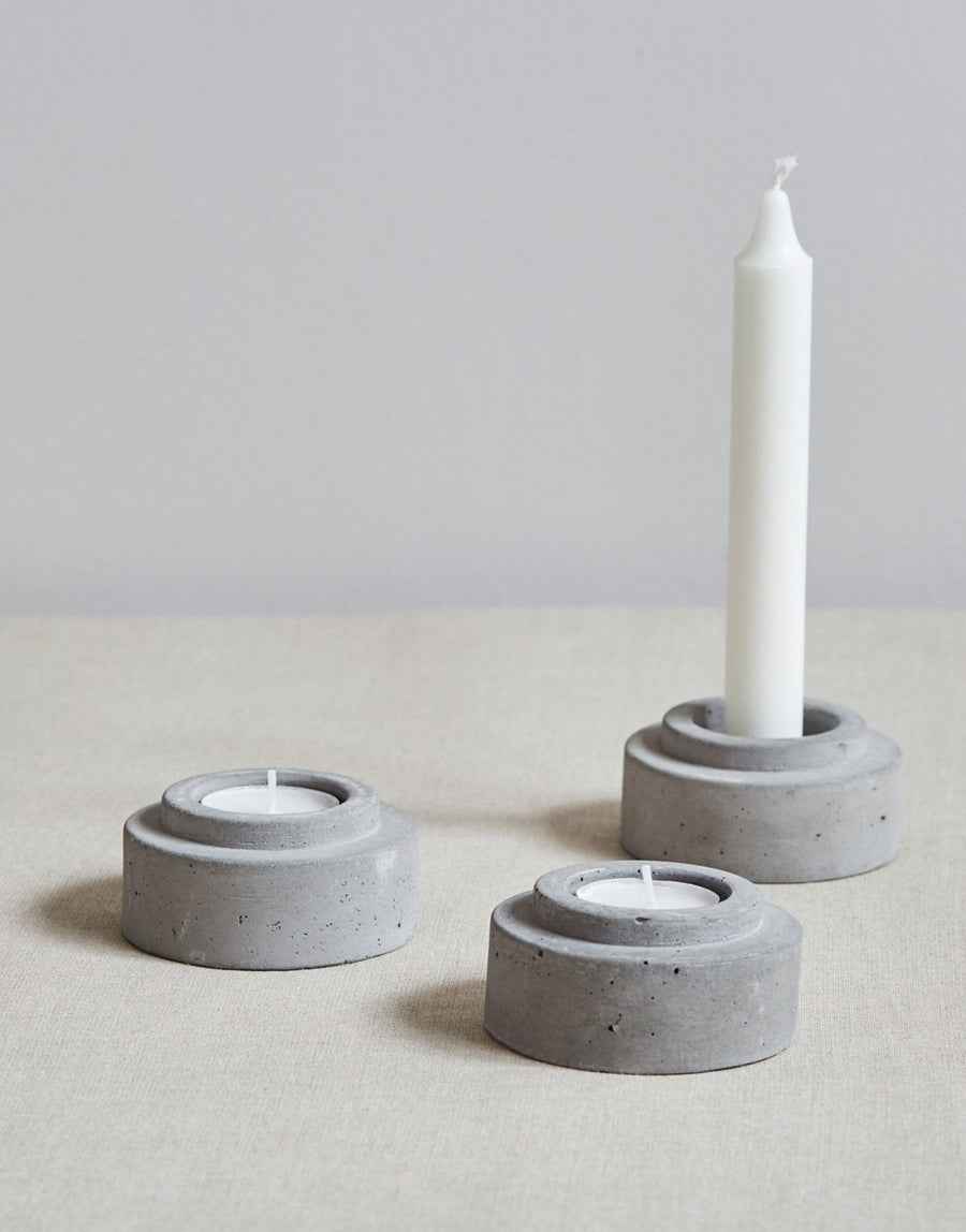 Wild and Wood Concrete Candle Holder Set of 3