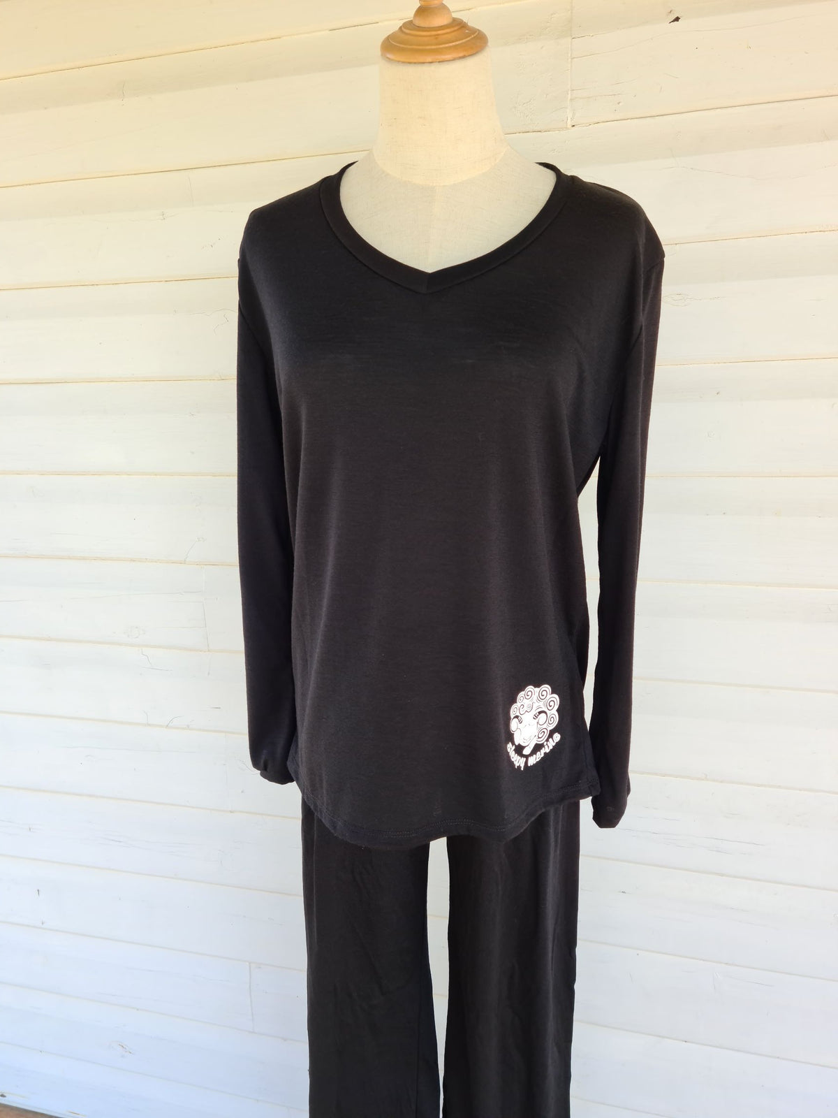 Women's Long Sleeve Pyjama Top | 100% Merino Wool Black