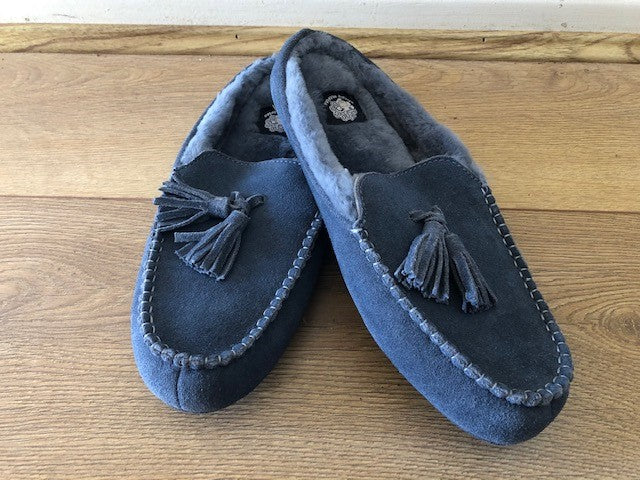 Unisex Moccasin-Australian Sheepskin Blue/Grey