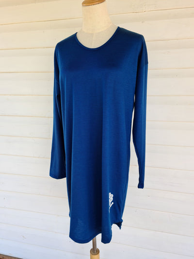 Women's Long Sleeve Sleepshirt | 100% Merino Wool Denim Blue