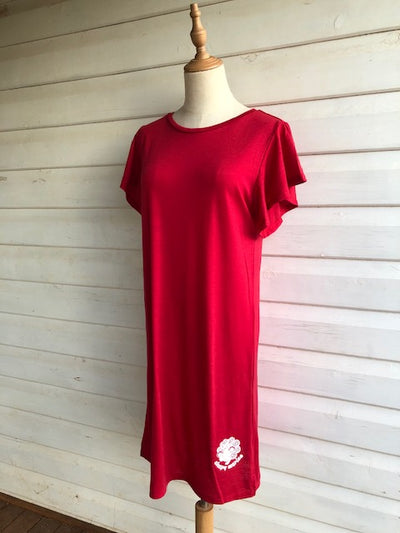 Women's Flutter Sleeve Nightie | 100% Merino Wool  Blaze Red
