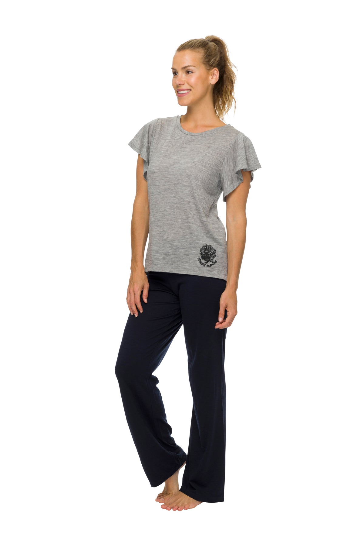 Women's Flutter Sleeve Pyjama Top | 100% Merino Wool Grey Marle