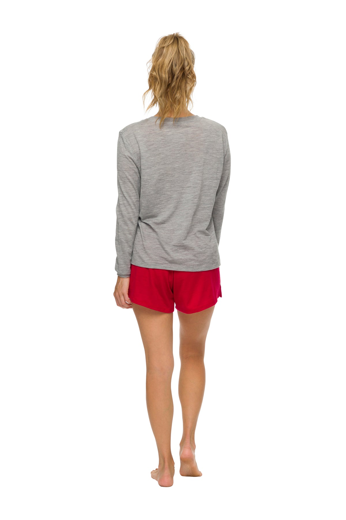 Women's Long Sleeve Pyjama Top | 100% Merino Wool Grey Marle
