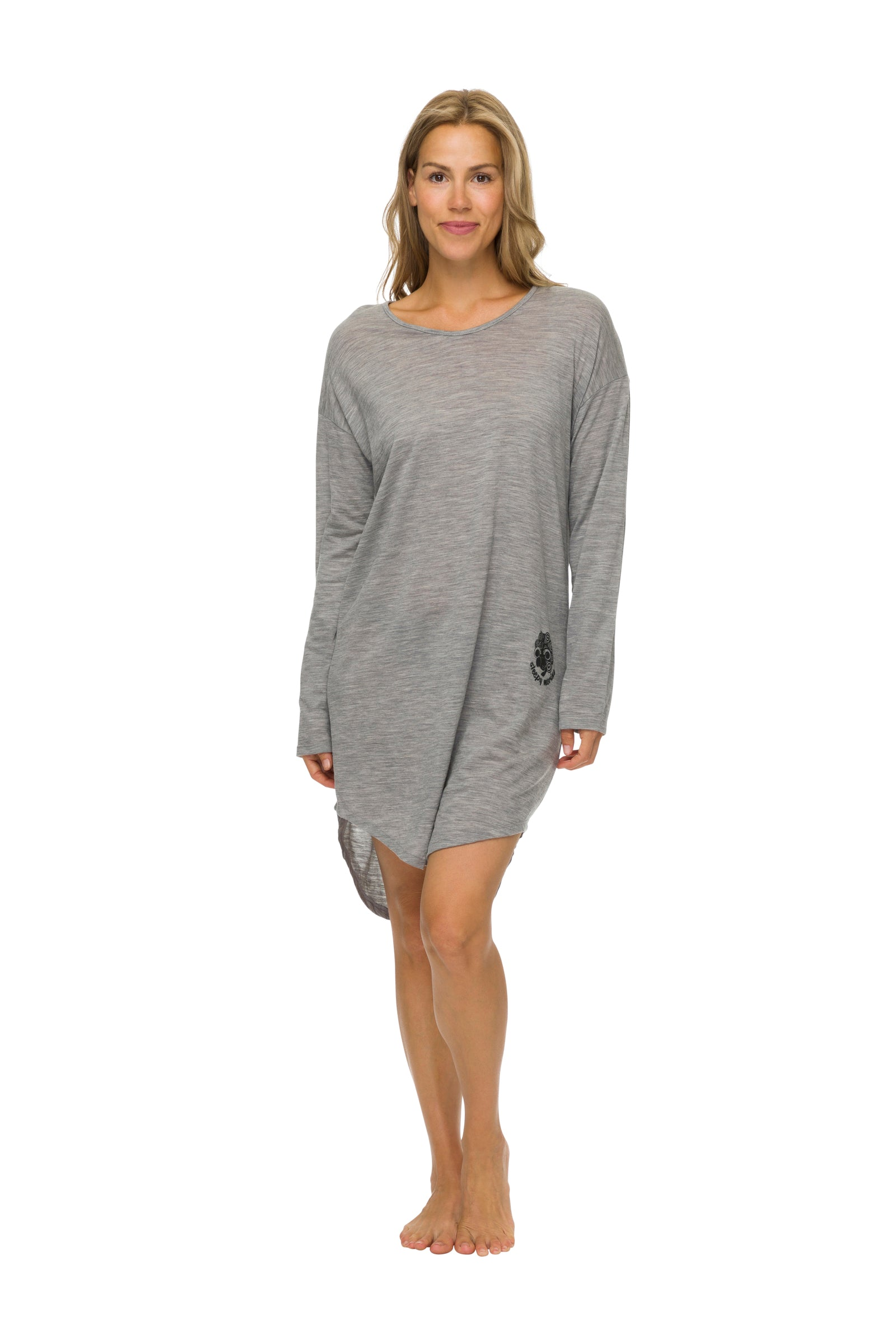 Women's Long Sleeve Sleepshirt | 100% Merino Wool Grey Marle