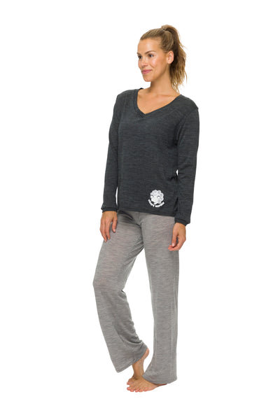 Women's Long Sleeve Pyjama Top | 100% Merino Wool Charcoal