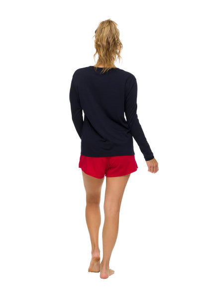 Women's Long Sleeve Pyjama Top |  100% Merino Wool Navy