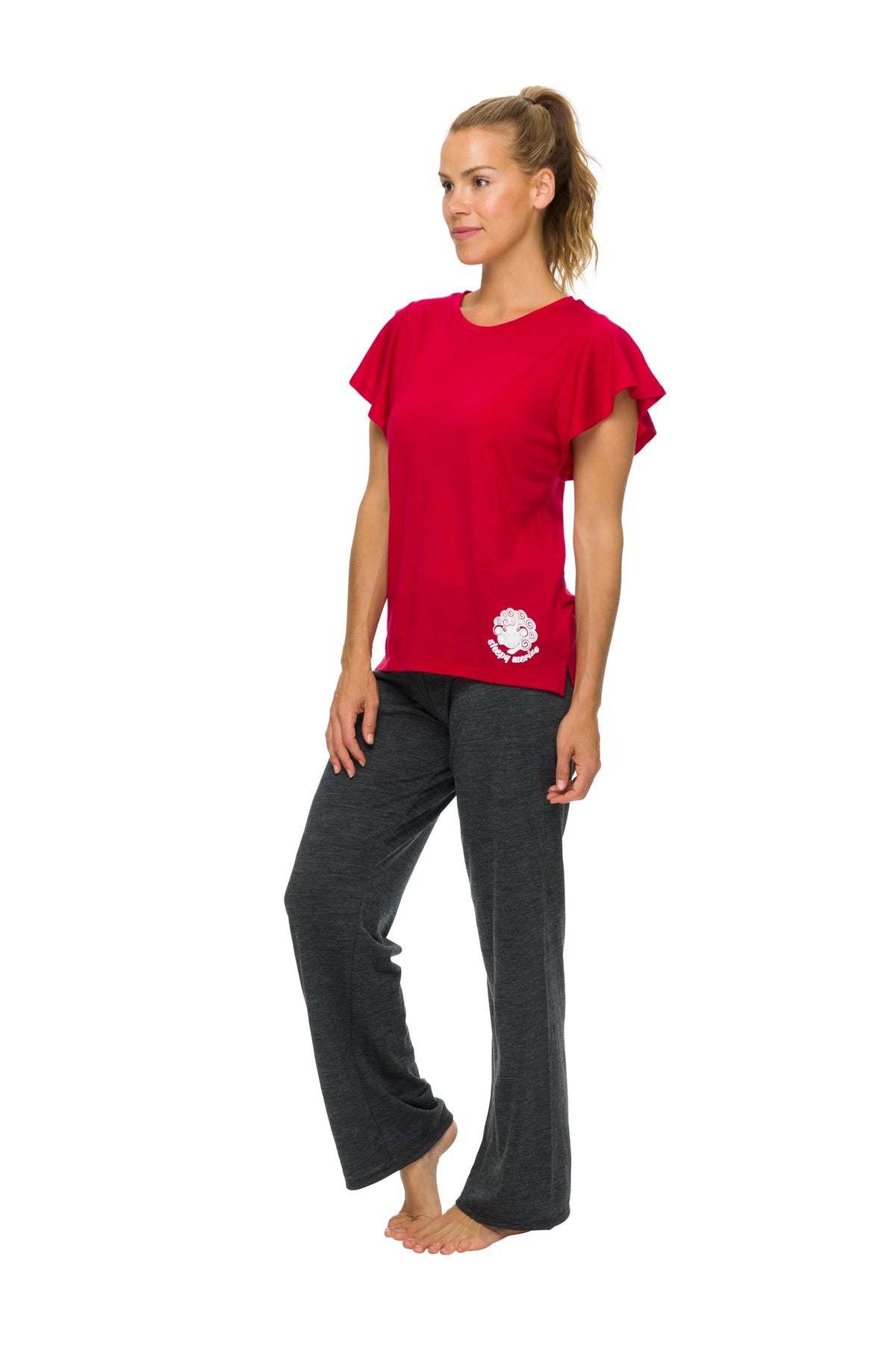 Women's Flutter Sleeve Pyjama Top | 100% Merino Wool  Blaze Red