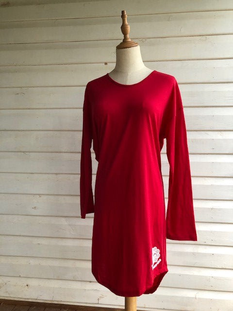 Women's Long Sleeve Sleepshirt | 100% Merino Wool Blaze Red