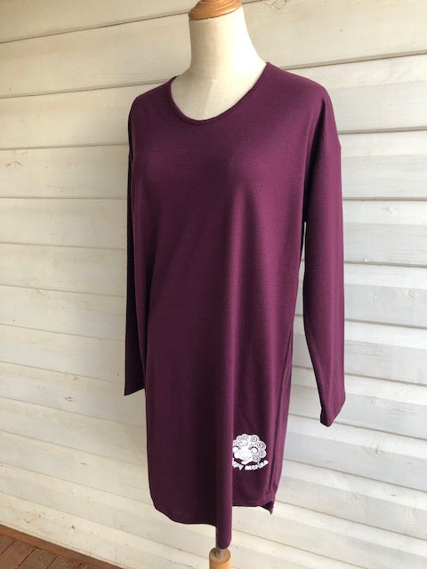 Women's Long Sleeve Sleepshirt | 100% Merino Wool Grape | Limited Edition heavier 200gsm