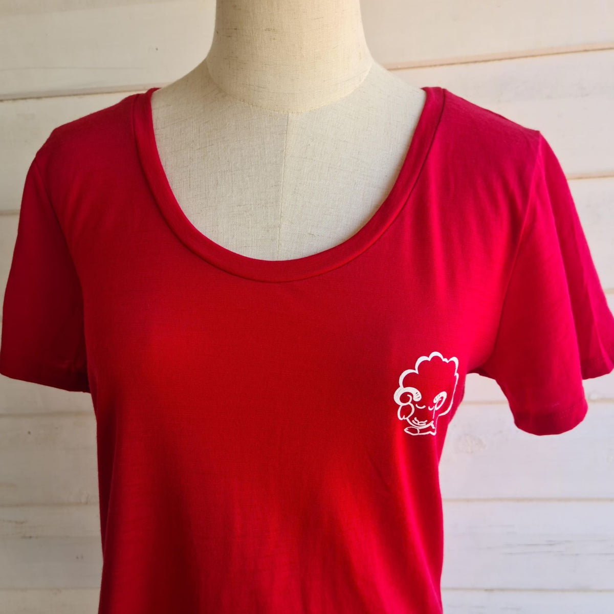 Women's Tee | 100% Merino Wool Blaze Red