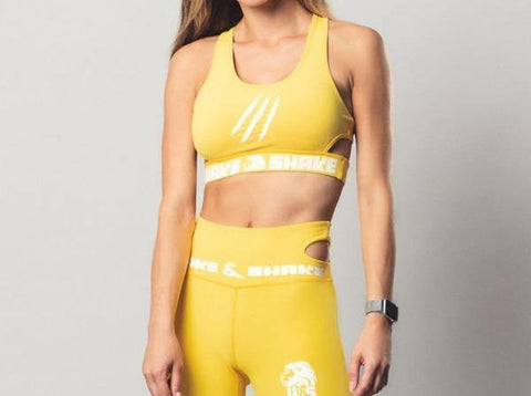 neon yellow sports bra wake&shake athletics
