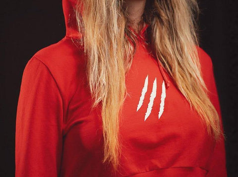red cropped hoodie wake&shake athletics