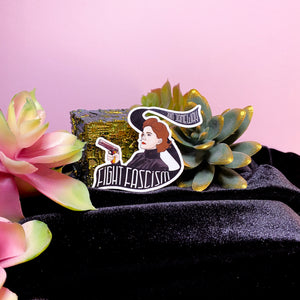 star trek stickers — fight fascism with janeway