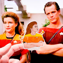 Load image into Gallery viewer, star trek stickers — candy corn janeway