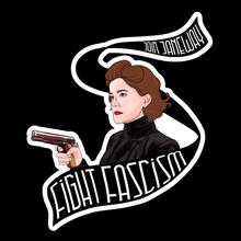 Load image into Gallery viewer, star trek stickers — fight fascism with janeway