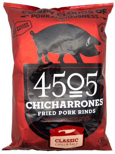 4505 Pork Rinds, Certified Keto, Humanely Raised 4505 Meats Classic Chili & Salt