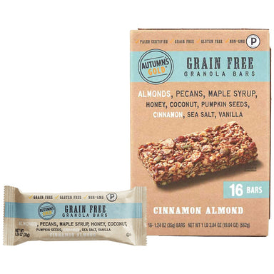 Autumn's Gold Grain Free Granola, Paleo Certified Autumn's Gold Cinnamon Almond 1.24 Oz-16 Bars
