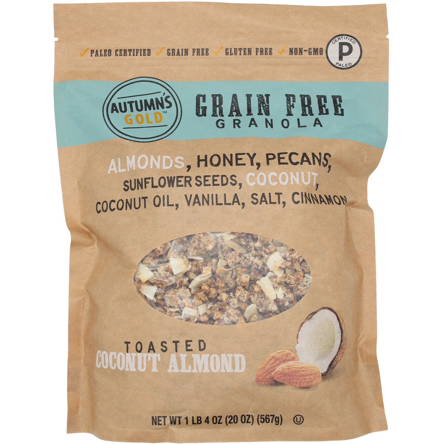 Autumn's Gold Grain Free Granola, Paleo Certified Autumn's Gold Toasted Coconut Almond 20 Ounce