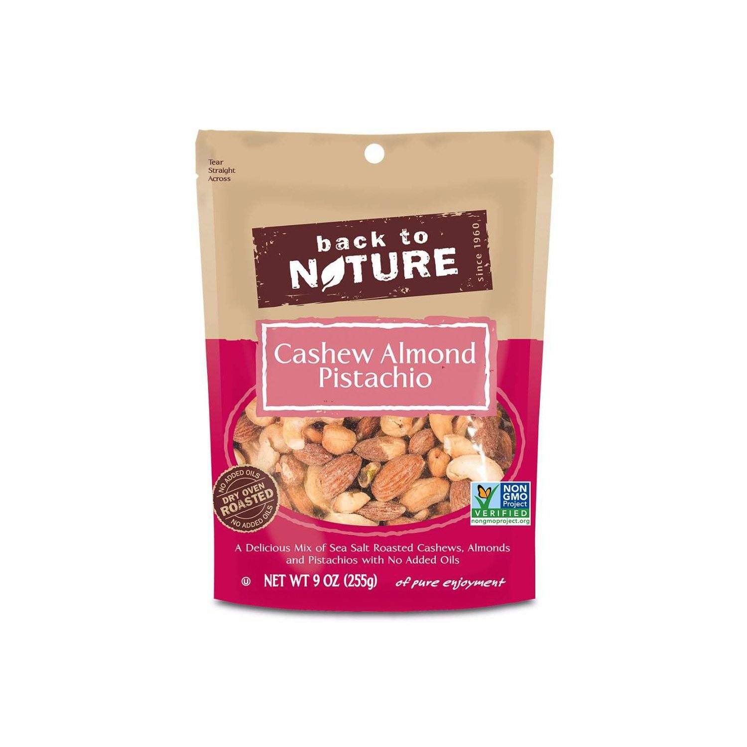 Back to Nature Nuts & Trail Mix Back to Nature Cashew Almond Pistachio 9 Ounce