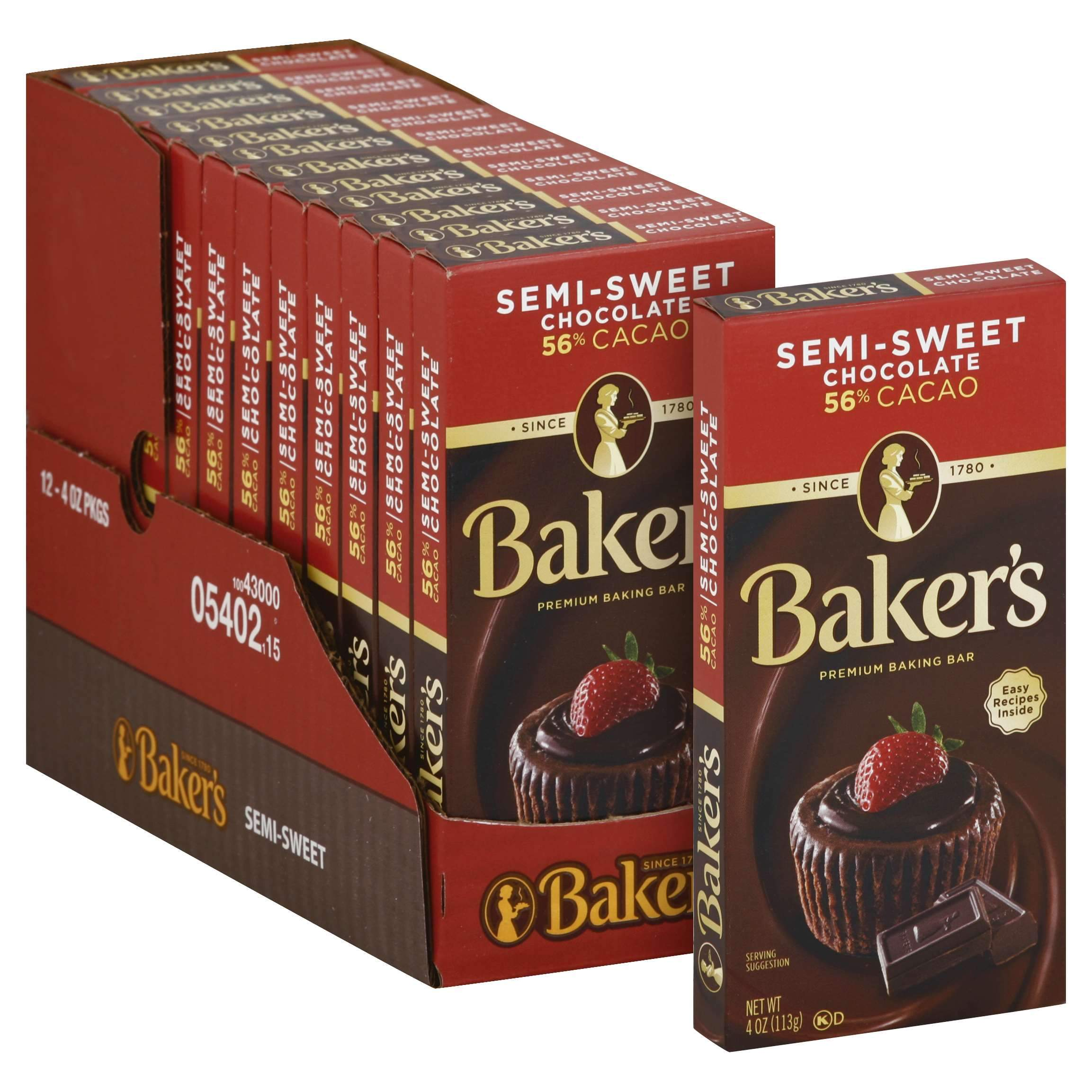 Baker's Chocolate Meltable Baker's Semi-Sweet 4 Oz-12 Count