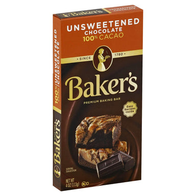 Baker's Chocolate Meltable Baker's Unsweetened 4 Ounce