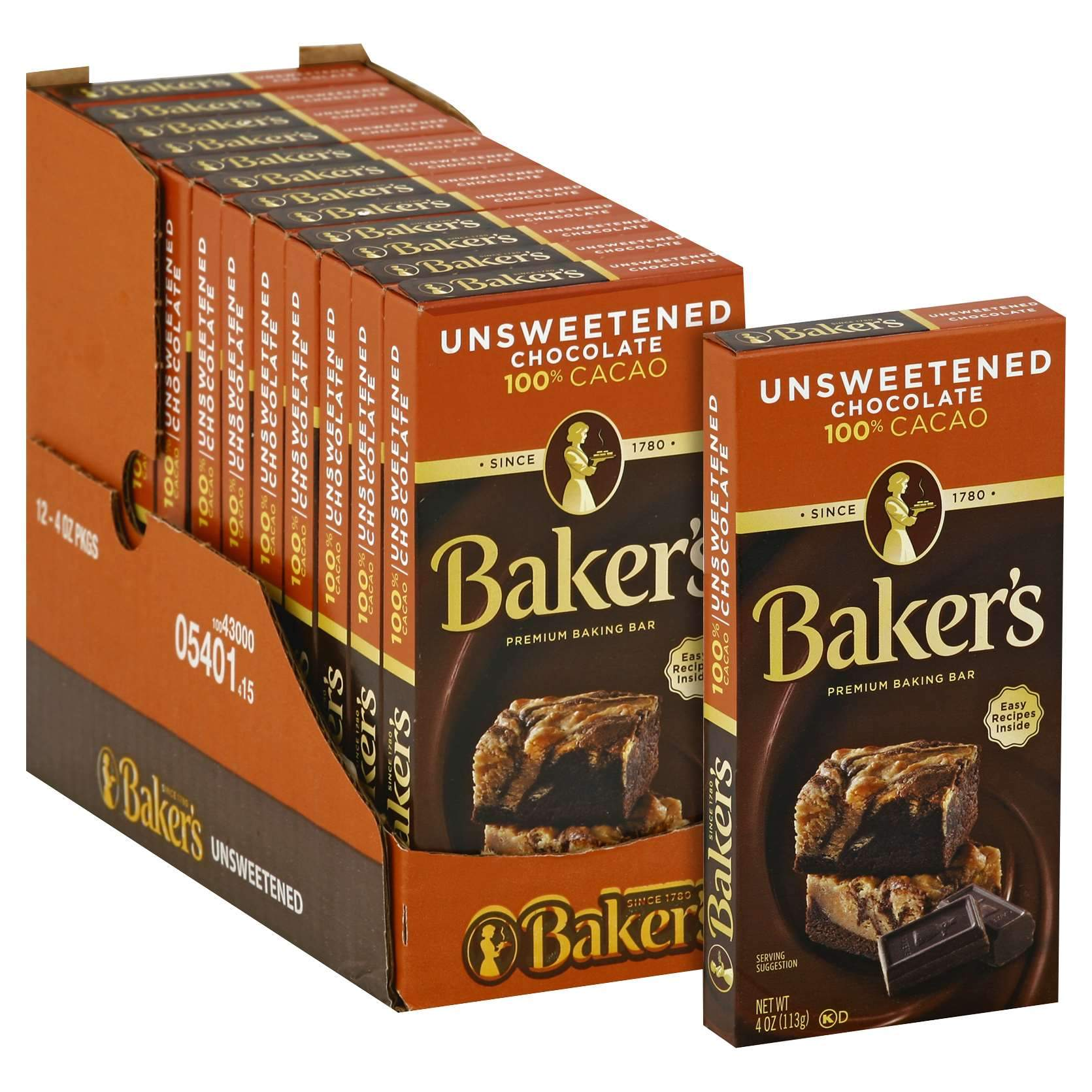 Baker's Chocolate Meltable Baker's Unsweetened 4 Oz-12 Count