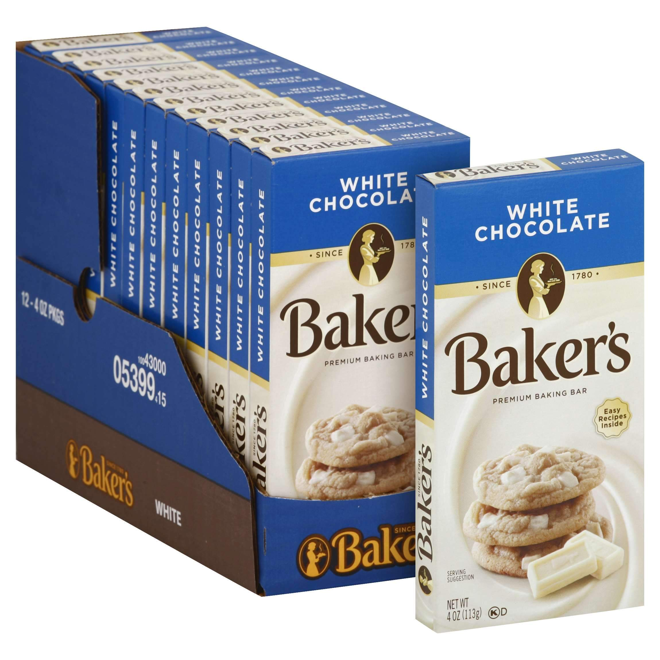 Baker's Chocolate Meltable Baker's White Chocolate 4 Oz-12 Count