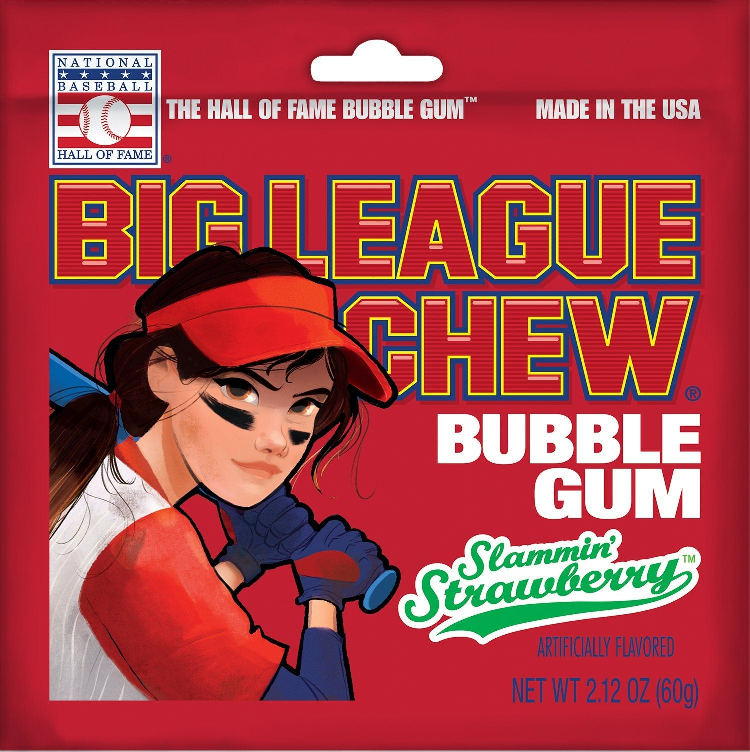 Big League Chew Bubble Gum Big League Chew Strawberry 2.12 Ounce