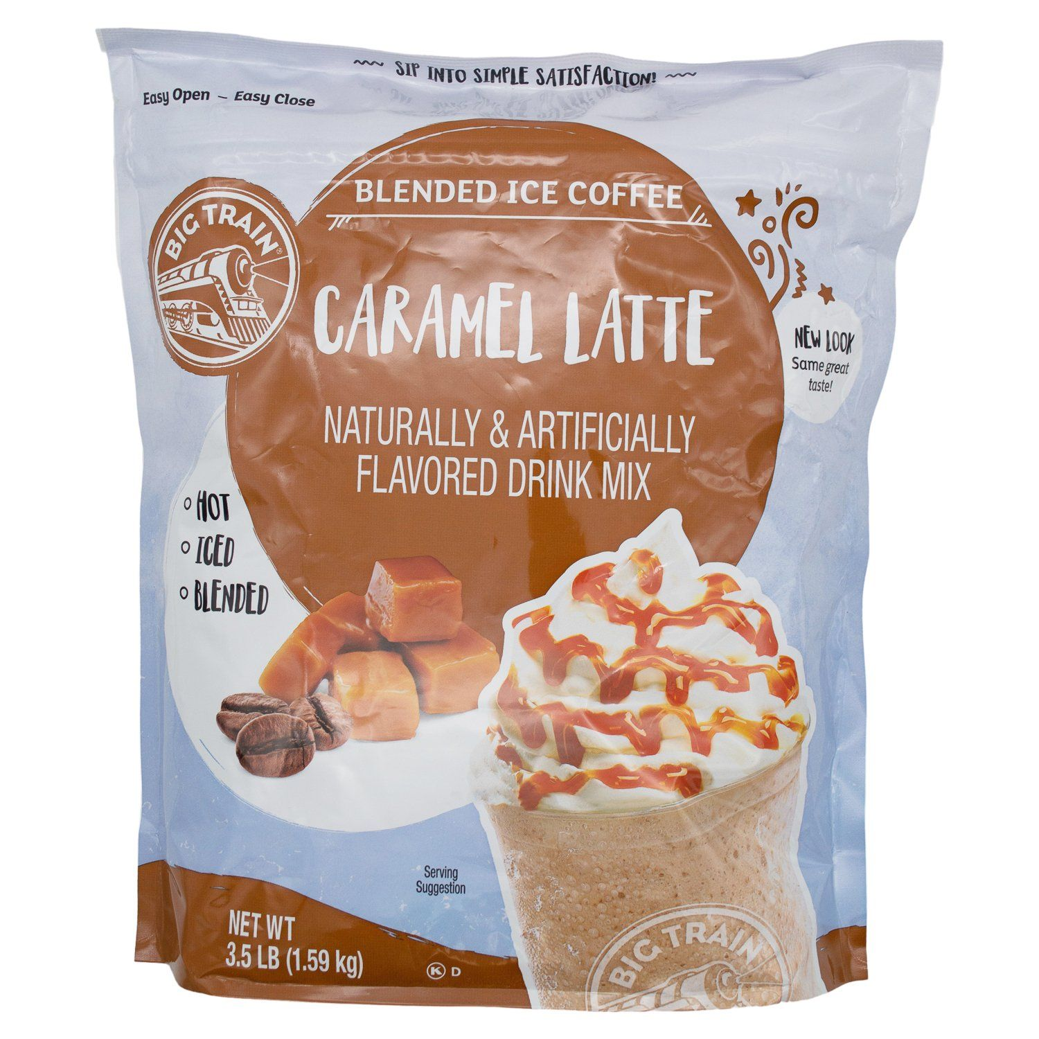 Big Train Blended Ice Coffee Big Train Caramel Latte 3.5 Pound Sealable