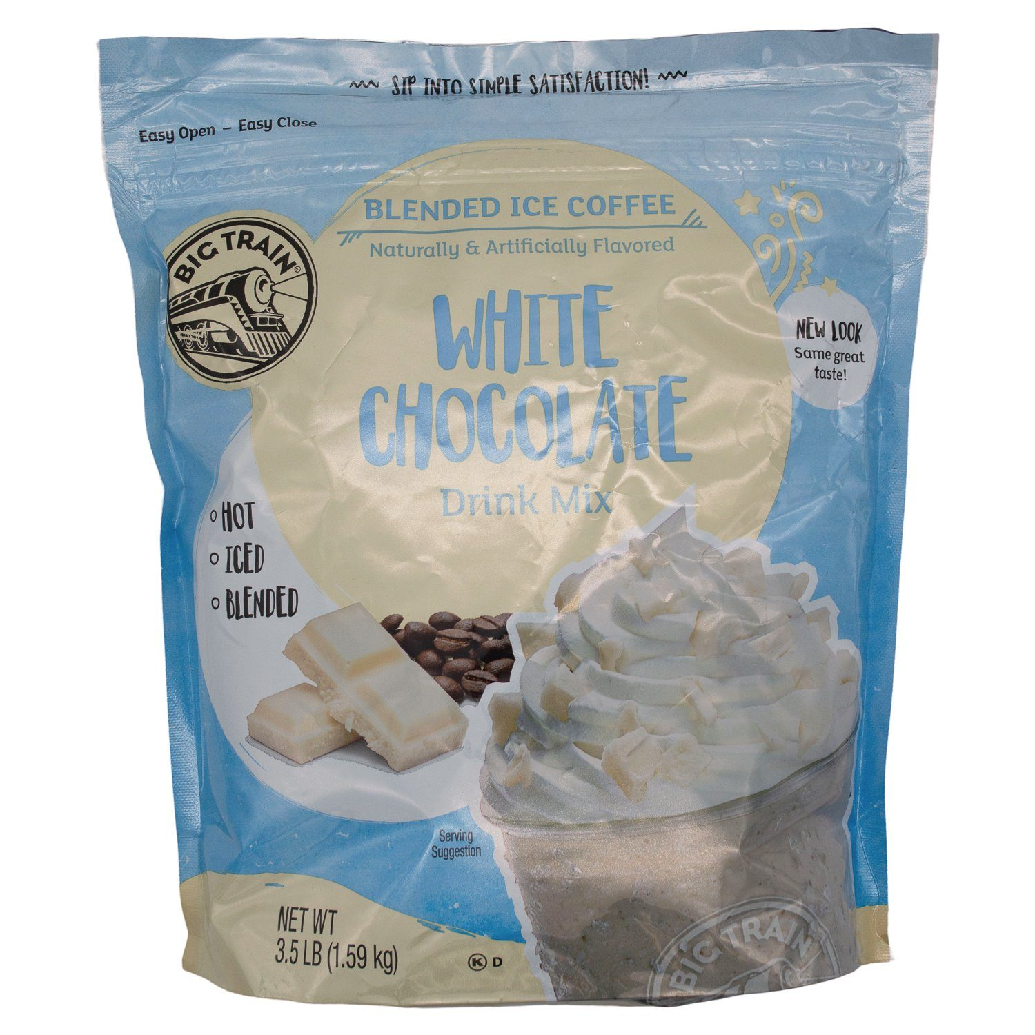 Big Train Blended Ice Coffee Big Train White Chocolate 3.5 Pound Sealable