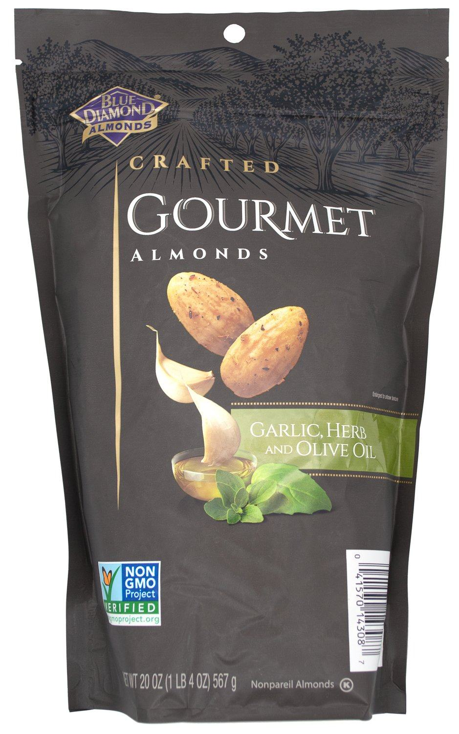 Blue Diamond Craft Gourmet Almonds Blue Diamond Almonds Garlic & Herb and Olive Oil 20 Ounce