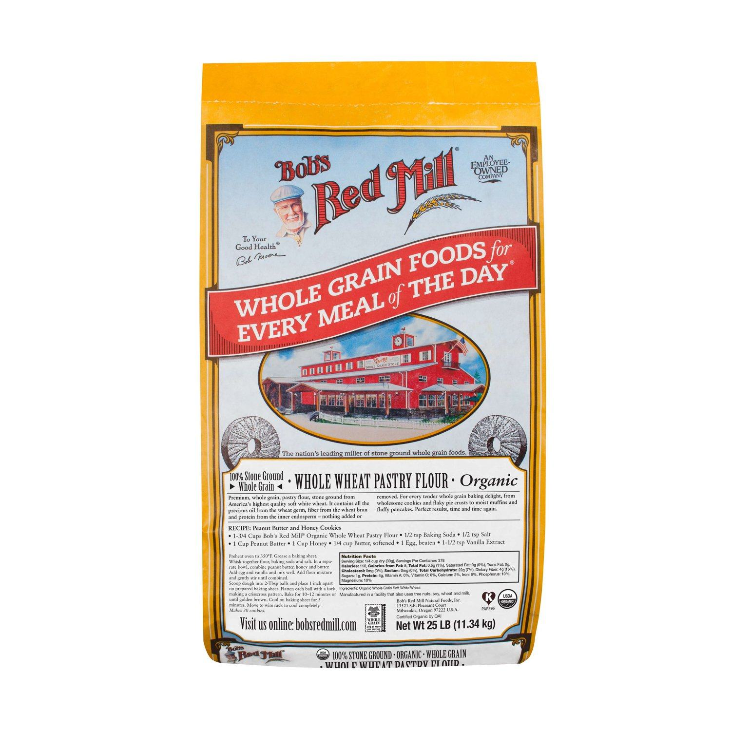 Bob's Red Mill Pastry Flour Bob's Red Mill Organic Whole Wheat 25 Pound