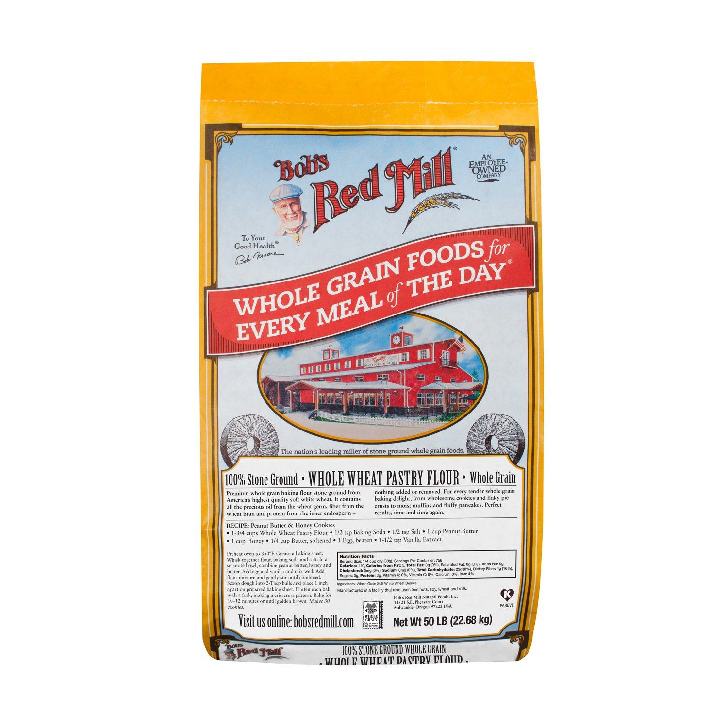 Bob's Red Mill Pastry Flour Bob's Red Mill Organic Whole Wheat 50 Pound