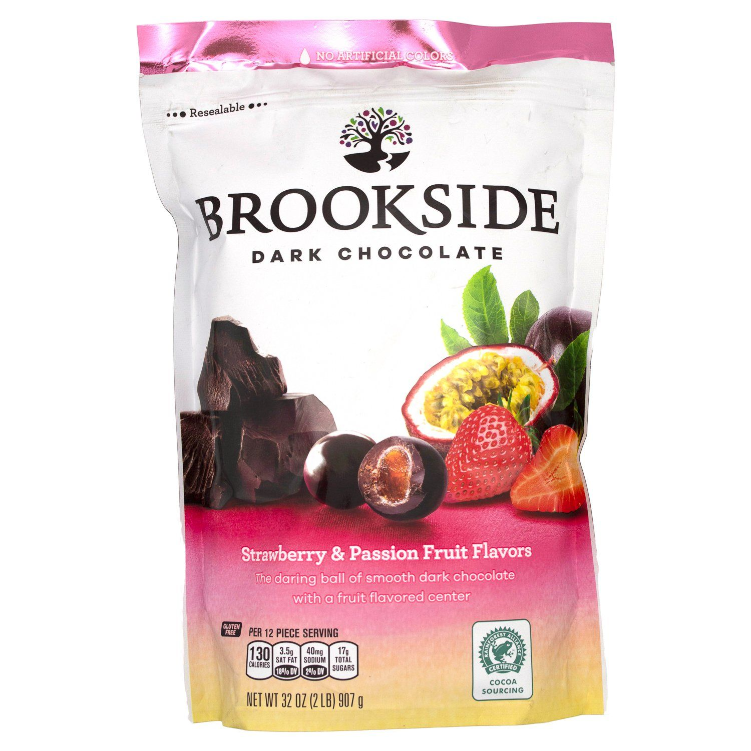 Brookside Dark Chocolate Meltable Brookside Strawberry & Passion Fruit 32 Ounce