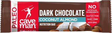 Caveman Foods Paleo-Friendly Nutrition Bar Caveman Foods Dark Chocolate Coconut Almond 1.41 Ounce
