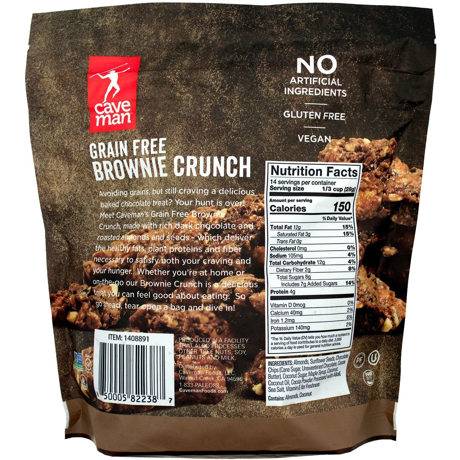Caveman Grain Free Brownie Crunch Caveman Foods