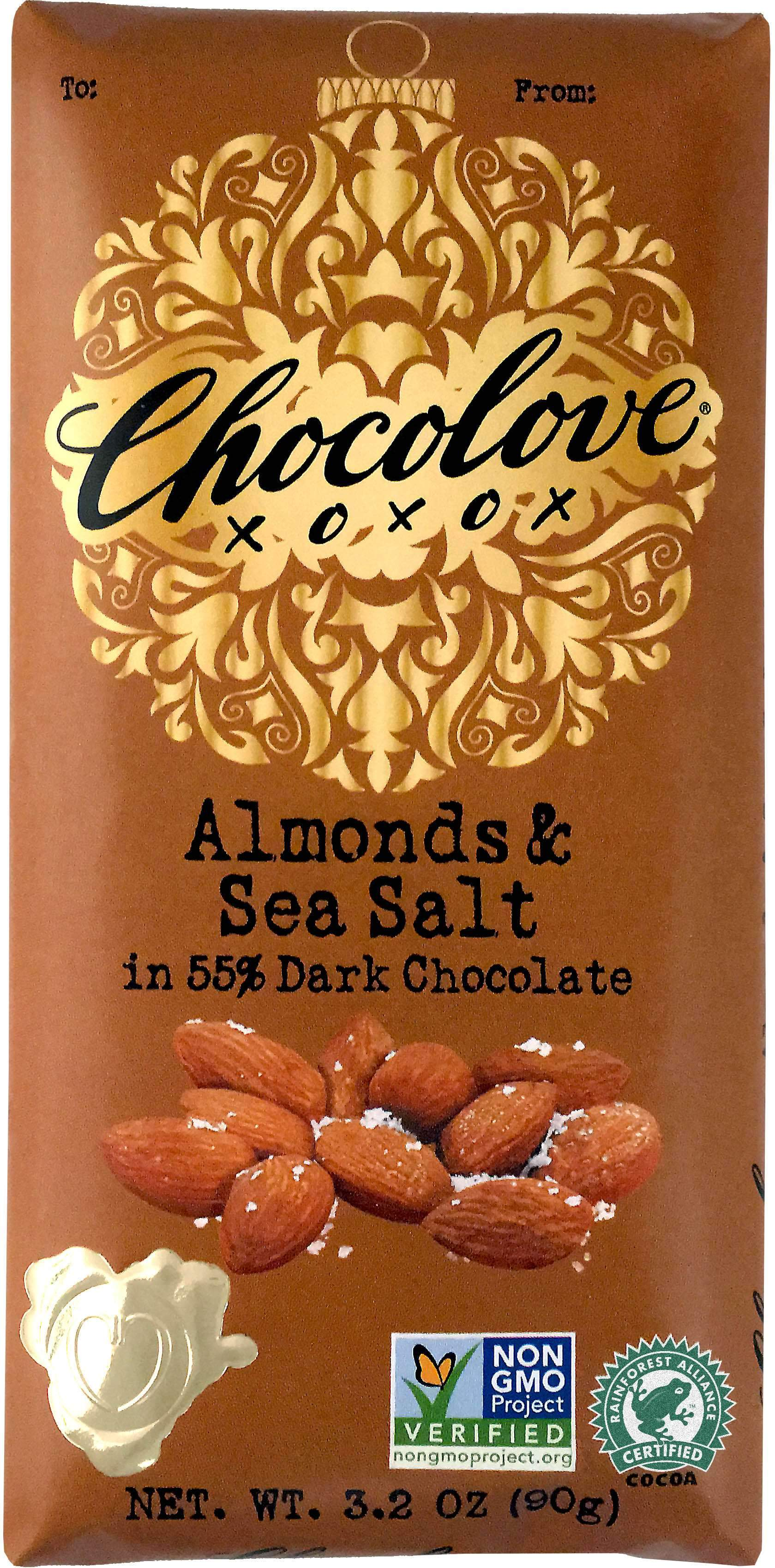 Chocolove Premium Chocolate Bars Meltable Chocolove Almonds & Sea Salt 3.2 Ounce