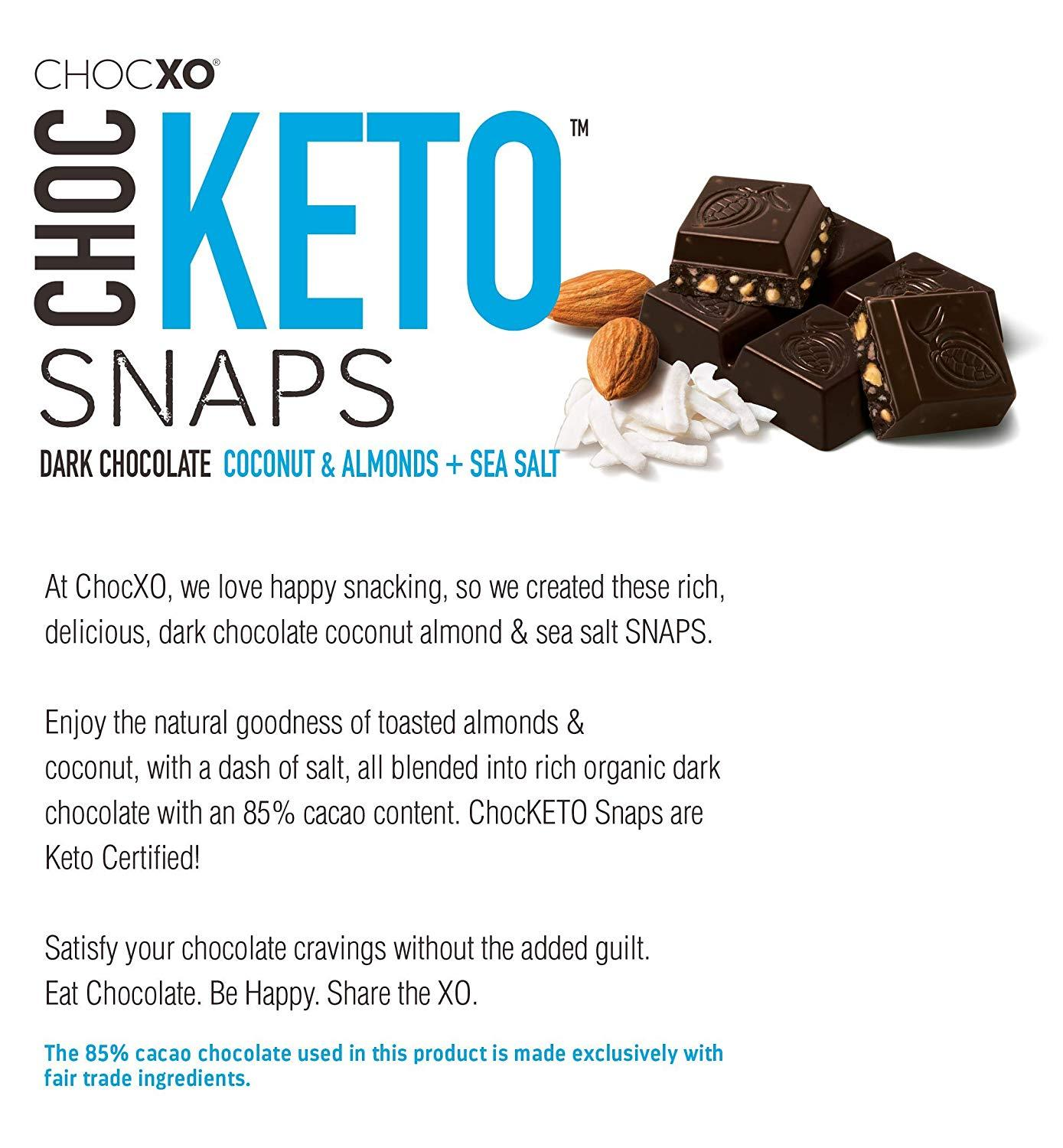 ChocXO ChocKeto Dark Chocolate, Coconut, Almond & Sea Salt Keto Snaps, 14.8 Ounce ChocXO