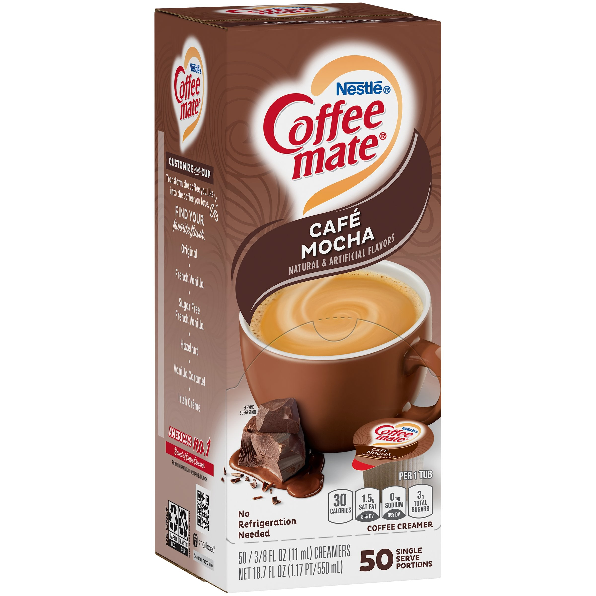 Coffee-Mate Single Serve Liquid Creamer Nestle Cafe Mocha 50 Singles