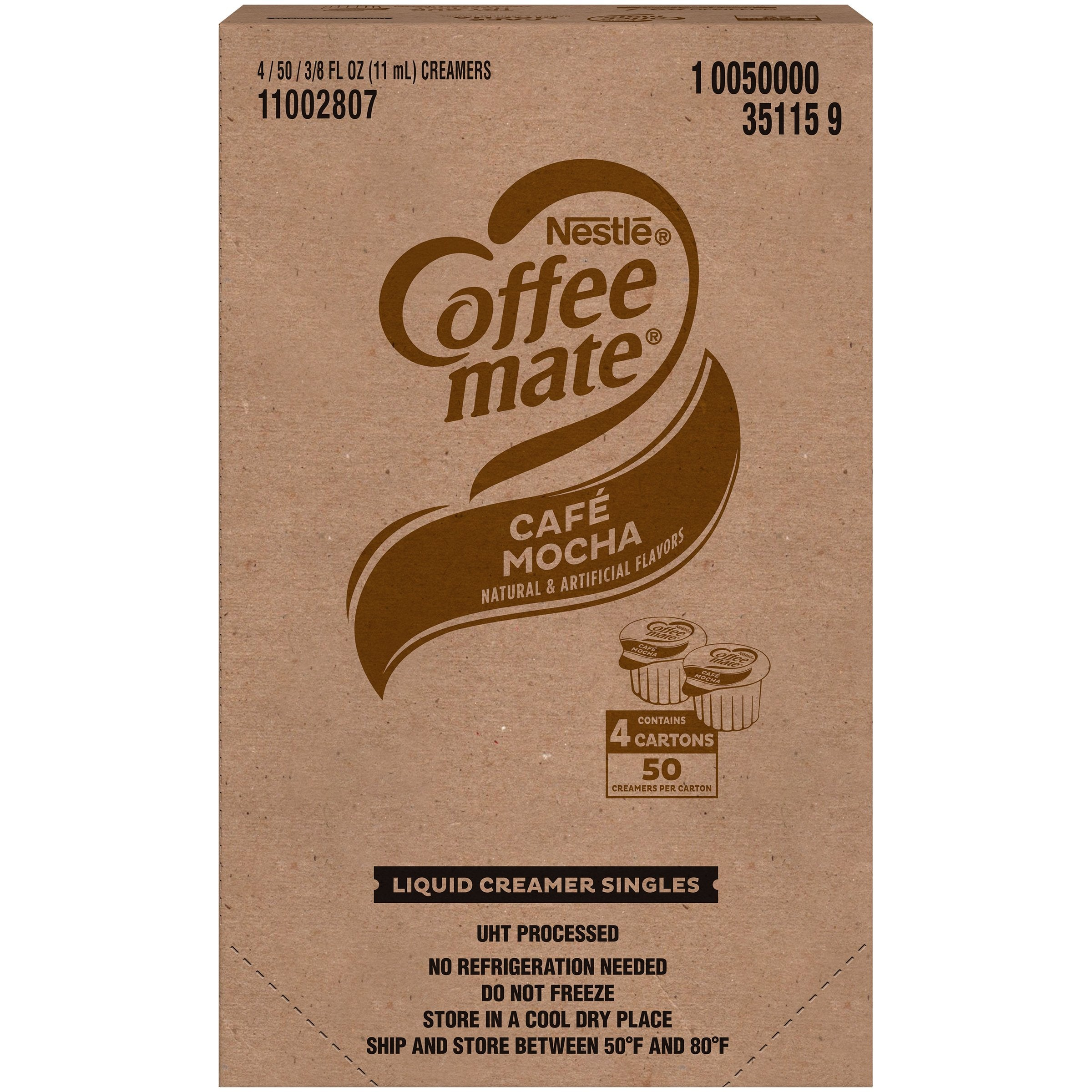Coffee-Mate Single Serve Liquid Creamer Nestle Cafe Mocha 50 Singles-4 Count