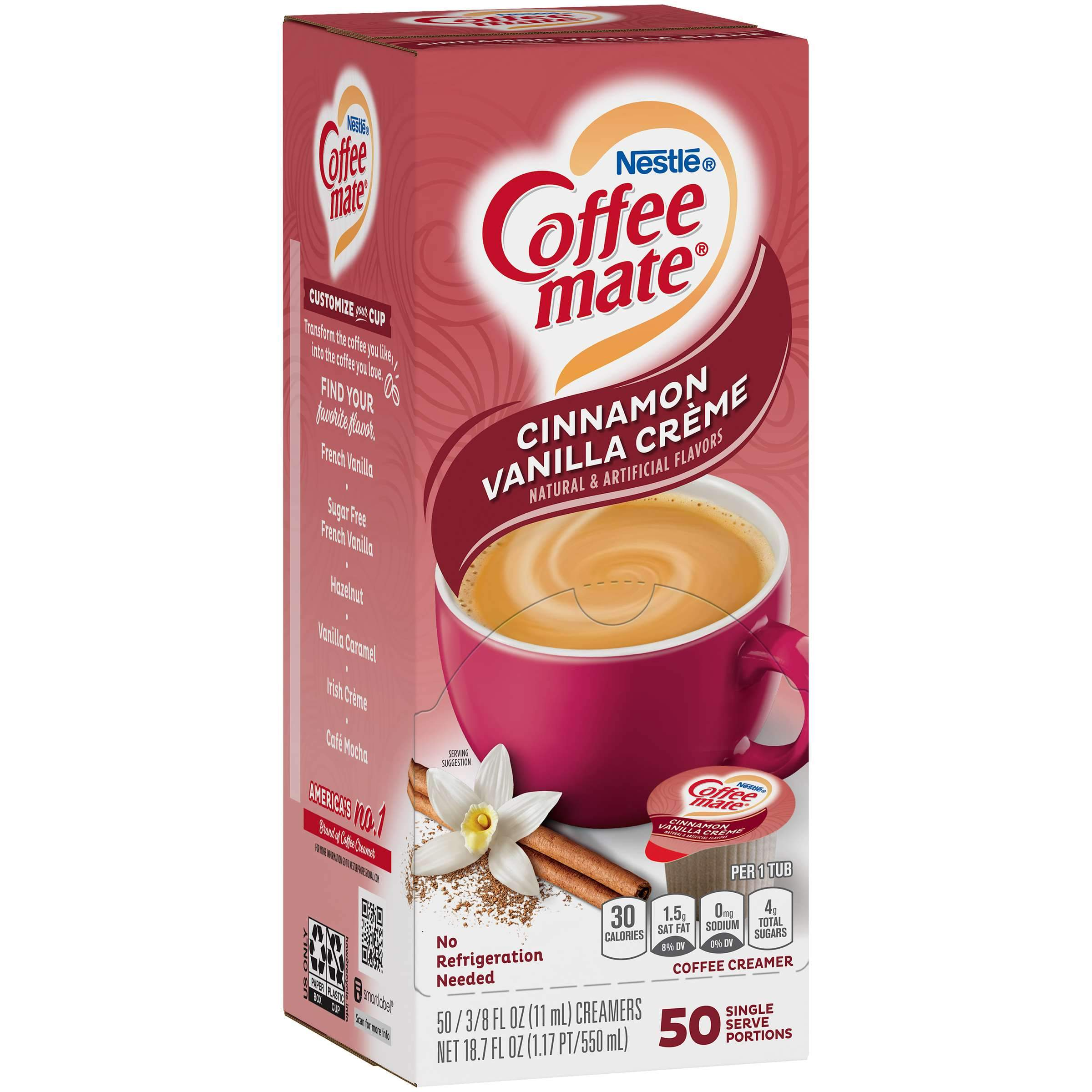 Coffee-Mate Single Serve Liquid Creamer Nestle Cinnamon Vanilla Creme 50 Singles
