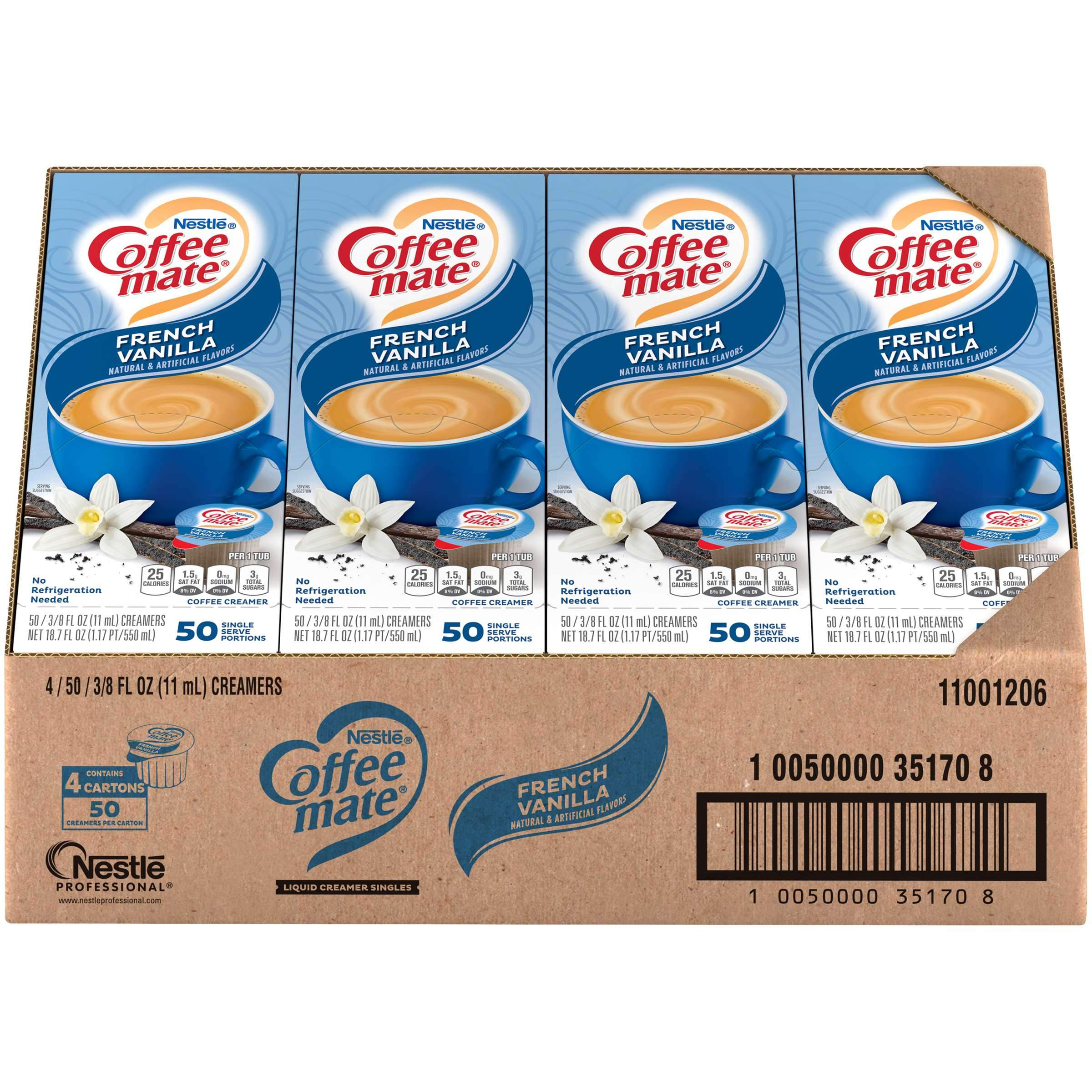 Coffee-Mate Single Serve Liquid Creamer Nestle French Vanilla 50 Singles-4 Count