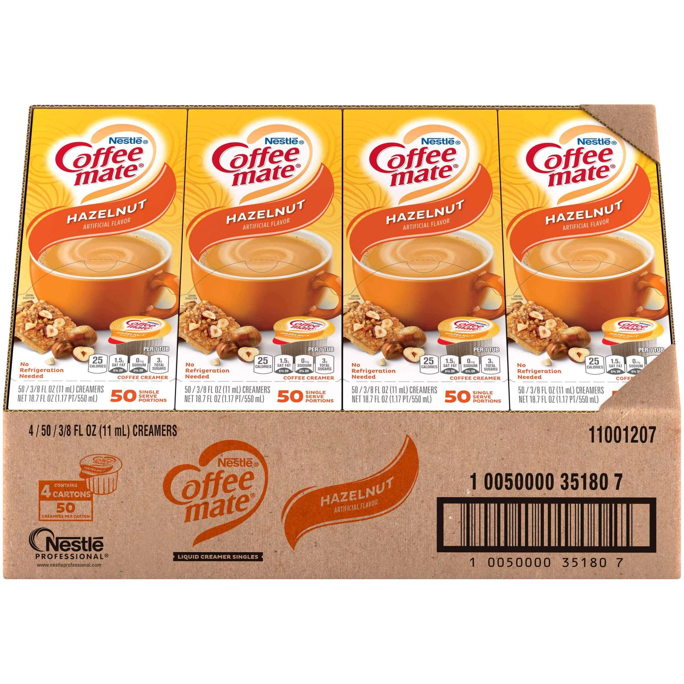 Coffee-Mate Single Serve Liquid Creamer Nestle Hazelnut 50 Singles-4 Count