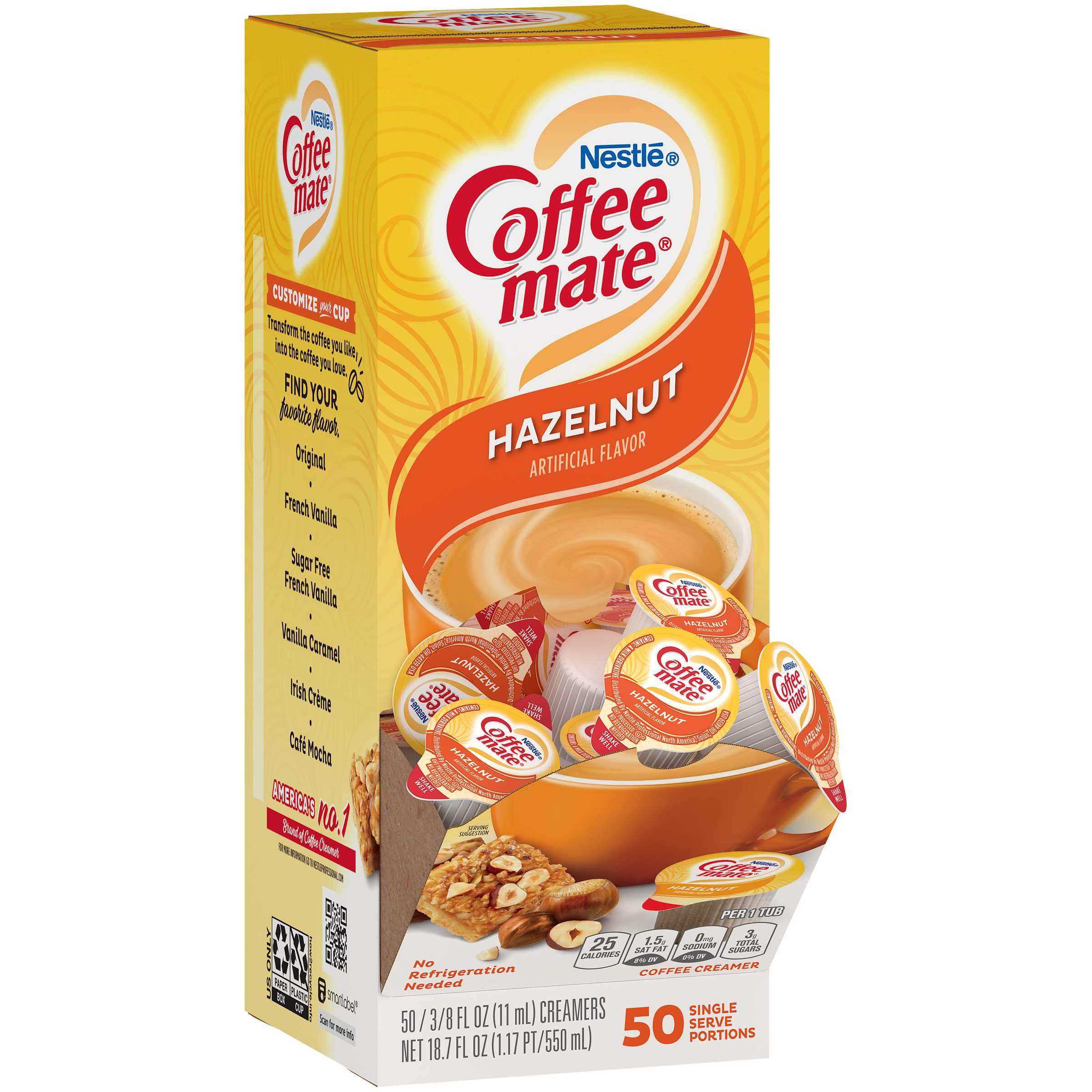 Coffee-Mate Single Serve Liquid Creamer Nestle Hazelnut 50 Singles