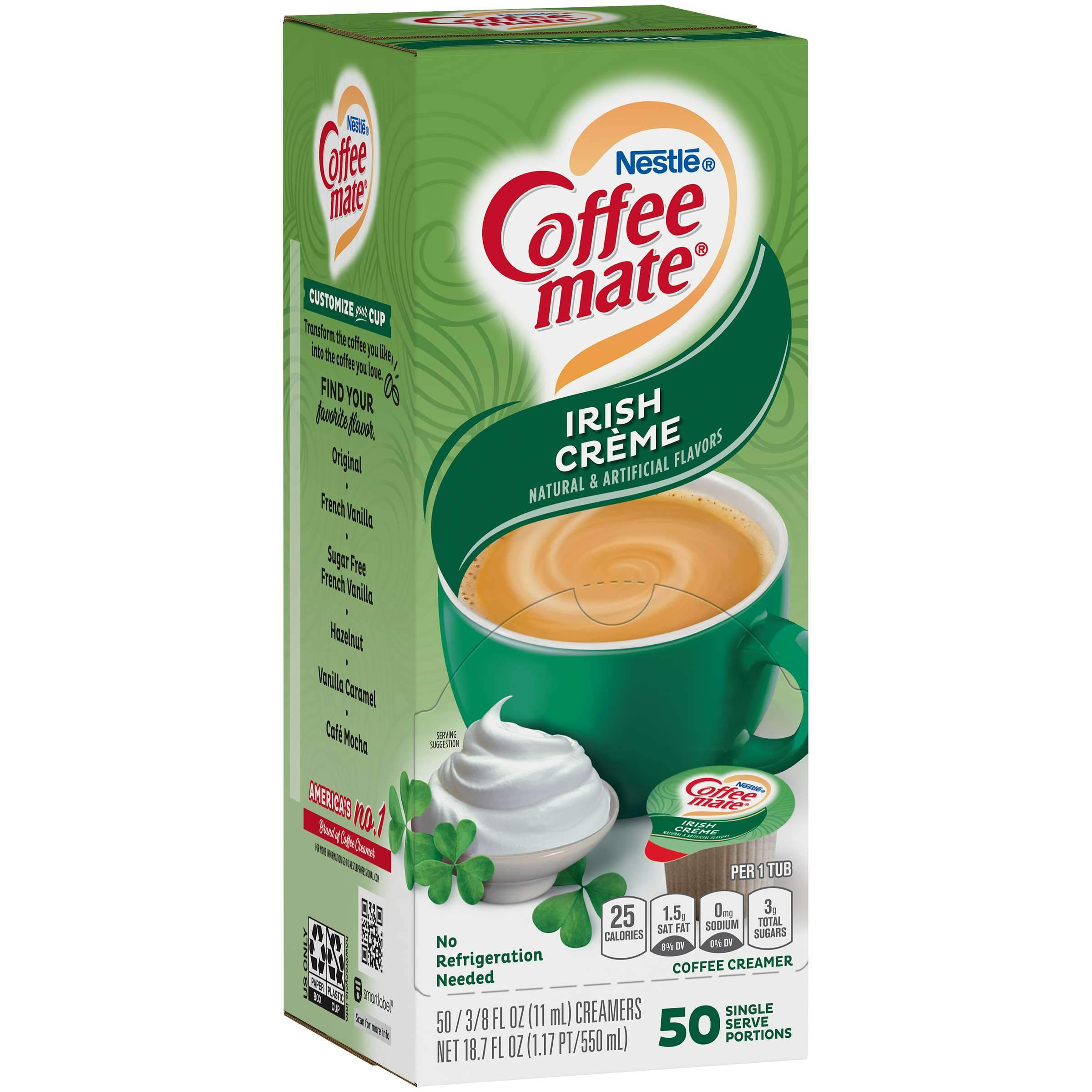 Coffee-Mate Single Serve Liquid Creamer Nestle Irish Creme 50 Singles
