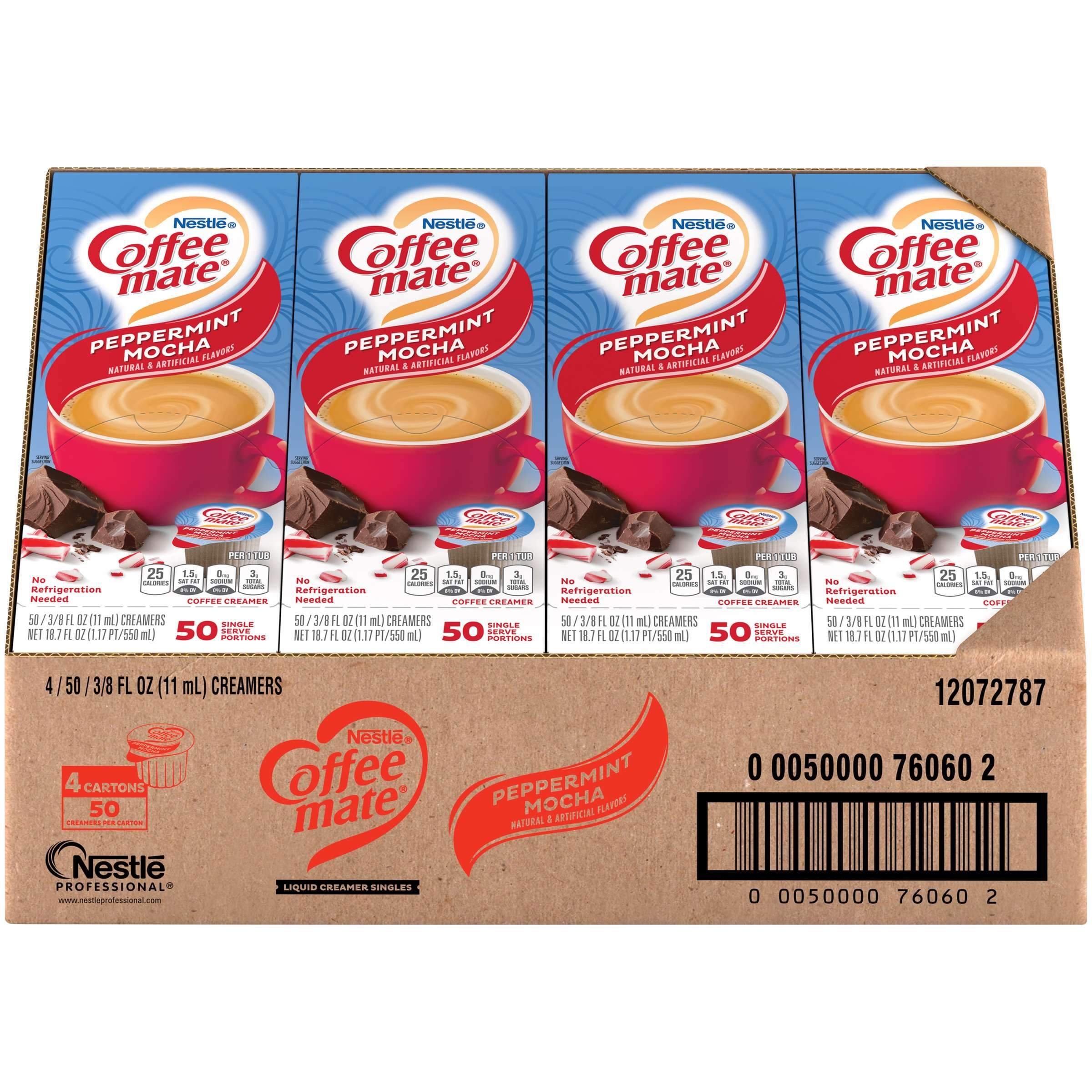 Coffee-Mate Single Serve Liquid Creamer Nestle Peppermint Mocha 50 Singles-4 Count