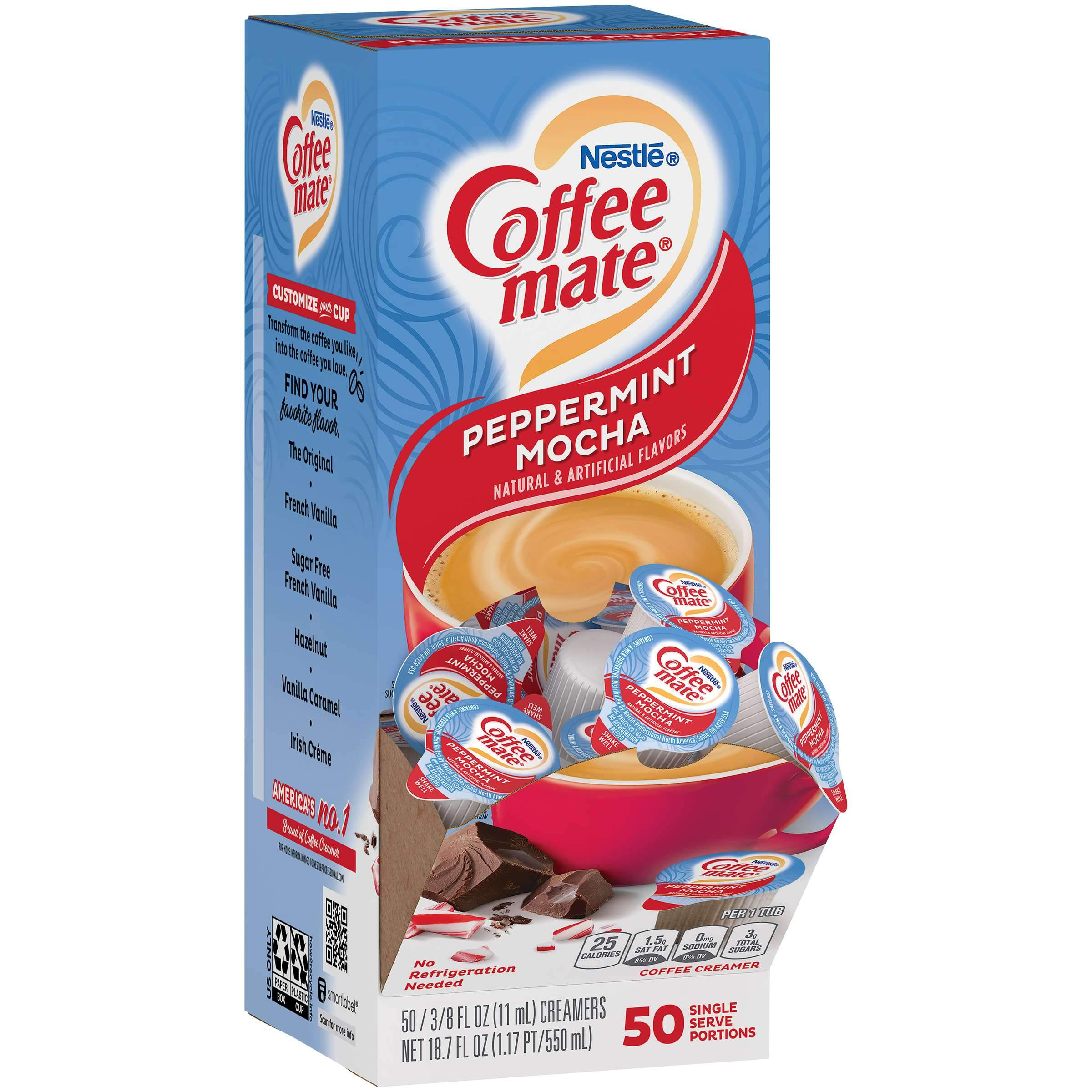 Coffee-Mate Single Serve Liquid Creamer Nestle Peppermint Mocha 50 Singles